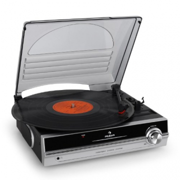 Auna TBA-298 Vinyl Plattenspieler Schallplattenspieler mit integr. Lautsprecher (laufruhiger Riemenantrieb, 2 Geschwindigkeiten, inkl. Nadel) silber-schwarz - 1