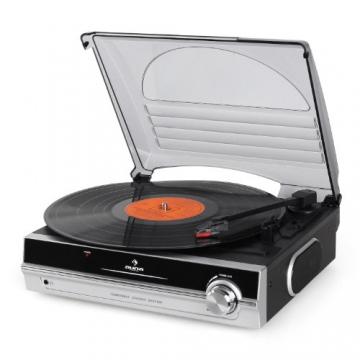 Auna TBA-298 Vinyl Plattenspieler Schallplattenspieler mit integr. Lautsprecher (laufruhiger Riemenantrieb, 2 Geschwindigkeiten, inkl. Nadel) silber-schwarz - 5