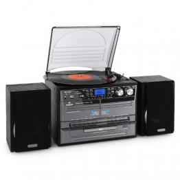 Auna TC-386WE  Stereoanlage (MP3/Kassette/CD Plattenspieler, USB) schwarz - 1