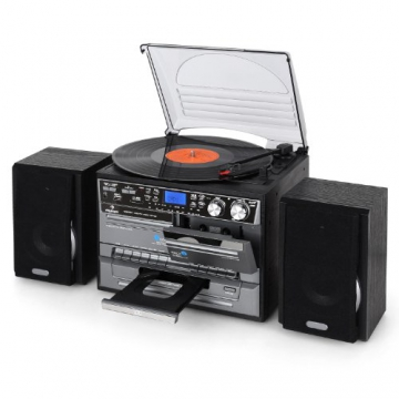 Auna TC-386WE  Stereoanlage (MP3/Kassette/CD Plattenspieler, USB) schwarz - 6