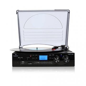Auna TT-186E Plattenspieler moderne Stereoanlage mit und USB-MP3-Aufnahmefunktion (UKW-Radio, integr. Lautsprecher) schwarz - 2
