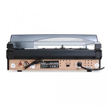 Auna TT-186E Plattenspieler moderne Stereoanlage mit und USB-MP3-Aufnahmefunktion (UKW-Radio, integr. Lautsprecher) schwarz - 3