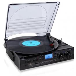 Auna TT-186E Plattenspieler moderne Stereoanlage mit und USB-MP3-Aufnahmefunktion (UKW-Radio, integr. Lautsprecher) schwarz - 1