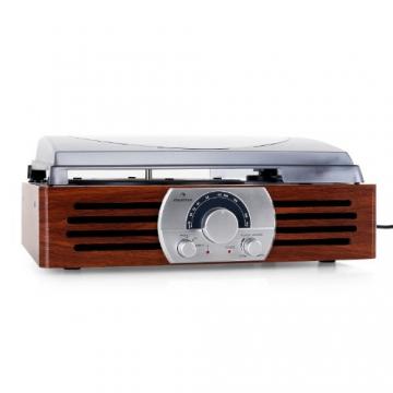 Auna TT-83N eleganter Holz-Schallplattenspieler Vintage Retro Plattenspieler mit Lautsprecher (UKW-Radio, Riemenbetrieb, Holzfurnier) braun - 2