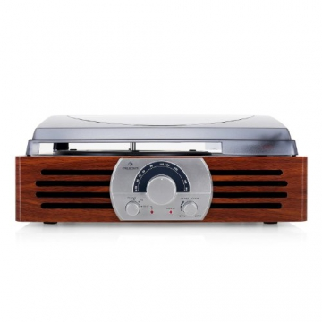 Auna TT-83N eleganter Holz-Schallplattenspieler Vintage Retro Plattenspieler mit Lautsprecher (UKW-Radio, Riemenbetrieb, Holzfurnier) braun - 3