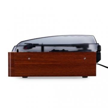 Auna TT-83N eleganter Holz-Schallplattenspieler Vintage Retro Plattenspieler mit Lautsprecher (UKW-Radio, Riemenbetrieb, Holzfurnier) braun - 4