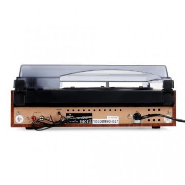 Auna TT-83N eleganter Holz-Schallplattenspieler Vintage Retro Plattenspieler mit Lautsprecher (UKW-Radio, Riemenbetrieb, Holzfurnier) braun - 5