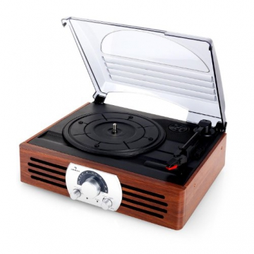 Auna TT-83N eleganter Holz-Schallplattenspieler Vintage Retro Plattenspieler mit Lautsprecher (UKW-Radio, Riemenbetrieb, Holzfurnier) braun - 6
