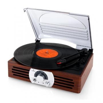 Auna TT-83N eleganter Holz-Schallplattenspieler Vintage Retro Plattenspieler mit Lautsprecher (UKW-Radio, Riemenbetrieb, Holzfurnier) braun - 7