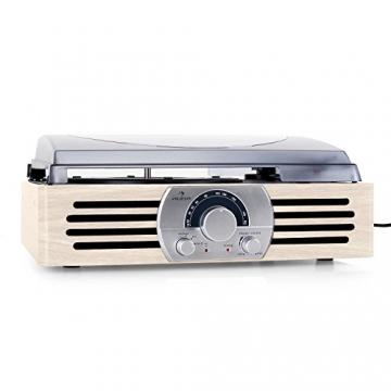 Auna TT-83N Holz Schallplattenspieler Platenspieler mit Radio (UKW-MW-Tuner, integr. Lautsprecher, Riemenantrieb, inkl. Tonabnehmersystem, Line-Ausgang zum Anschluss an Verstärker- oder Mischpulte) creme - 2