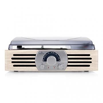 Auna TT-83N Holz Schallplattenspieler Platenspieler mit Radio (UKW-MW-Tuner, integr. Lautsprecher, Riemenantrieb, inkl. Tonabnehmersystem, Line-Ausgang zum Anschluss an Verstärker- oder Mischpulte) creme - 3