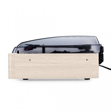 Auna TT-83N Holz Schallplattenspieler Platenspieler mit Radio (UKW-MW-Tuner, integr. Lautsprecher, Riemenantrieb, inkl. Tonabnehmersystem, Line-Ausgang zum Anschluss an Verstärker- oder Mischpulte) creme - 4