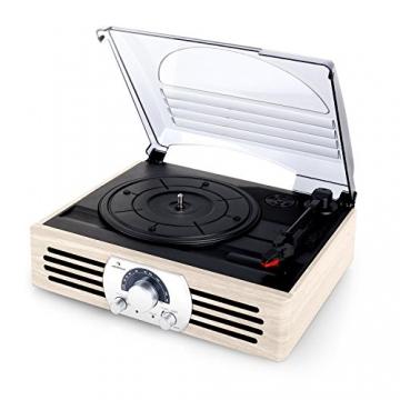 Auna TT-83N Holz Schallplattenspieler Platenspieler mit Radio (UKW-MW-Tuner, integr. Lautsprecher, Riemenantrieb, inkl. Tonabnehmersystem, Line-Ausgang zum Anschluss an Verstärker- oder Mischpulte) creme - 5