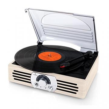 Auna TT-83N Holz Schallplattenspieler Platenspieler mit Radio (UKW-MW-Tuner, integr. Lautsprecher, Riemenantrieb, inkl. Tonabnehmersystem, Line-Ausgang zum Anschluss an Verstärker- oder Mischpulte) creme - 6