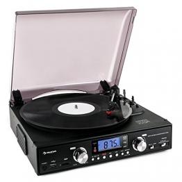 Auna TT 881 Plattenspieler MP3 USB SD UKW/MW Encoder schwarz - 1
