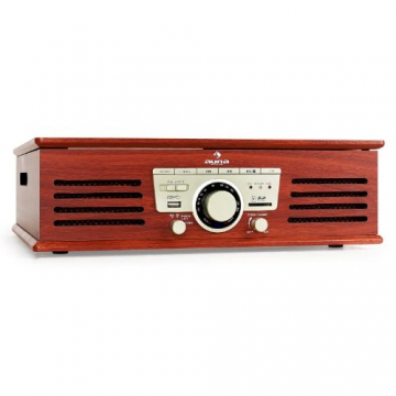 Auna TT-92B Retro Design Plattenspieler Holz Schallplattenspieler zum digitalisieren (USB-SD-Slot, AUX-IN, UKW-Radio, Holzfurnier) kirsche - 2
