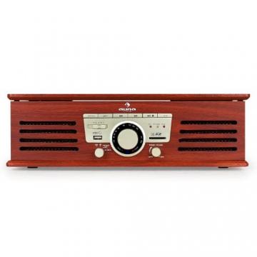 Auna TT-92B Retro Design Plattenspieler Holz Schallplattenspieler zum digitalisieren (USB-SD-Slot, AUX-IN, UKW-Radio, Holzfurnier) kirsche - 3