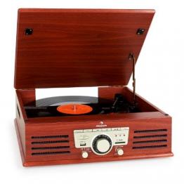 Auna TT-92B Retro Design Plattenspieler Holz Schallplattenspieler zum digitalisieren (USB-SD-Slot, AUX-IN, UKW-Radio, Holzfurnier) kirsche - 1