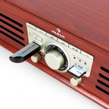 Auna TT-92B Retro Design Plattenspieler Holz Schallplattenspieler zum digitalisieren (USB-SD-Slot, AUX-IN, UKW-Radio, Holzfurnier) kirsche - 5