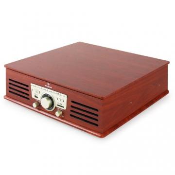 Auna TT-92B Retro Design Plattenspieler Holz Schallplattenspieler zum digitalisieren (USB-SD-Slot, AUX-IN, UKW-Radio, Holzfurnier) kirsche - 7