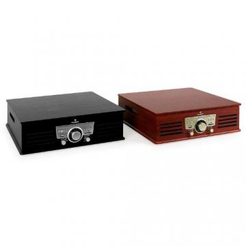Auna TT-92B Retro Design Plattenspieler Holz Schallplattenspieler zum digitalisieren (USB-SD-Slot, AUX-IN, UKW-Radio, Holzfurnier) kirsche - 8