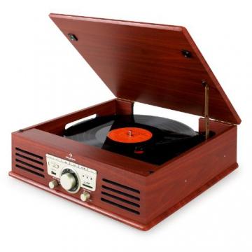 Auna TT-92B Retro Design Plattenspieler Holz Schallplattenspieler zum digitalisieren (USB-SD-Slot, AUX-IN, UKW-Radio, Holzfurnier) kirsche - 9
