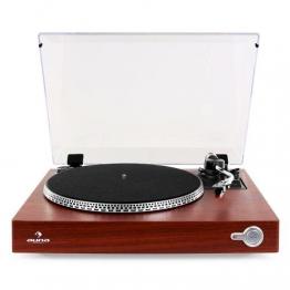 Auna TT-931 Design Plattenspieler Holz Schallplattenspieler mit S-förmiger Tonarm (Auto-Start, Filz-Slipmat, inkl. Tonabnehmersystem, 2 Geschwindigkeiten: 33, 45 U/min) braun - 1