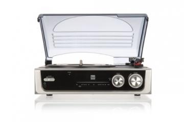 Dual DTR 50 Plattenspieler mit eingebauten Lautsprechern (Wurfantenne, 3,5mm Klinke, UKW-Tuner) silber - 3