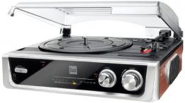 Dual DTR 50 Plattenspieler mit eingebauten Lautsprechern (Wurfantenne, 3,5mm Klinke, UKW-Tuner) silber - 1
