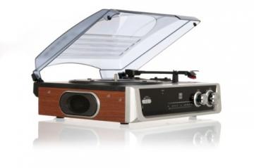 Dual DTR 50 Plattenspieler mit eingebauten Lautsprechern (Wurfantenne, 3,5mm Klinke, UKW-Tuner) silber - 4