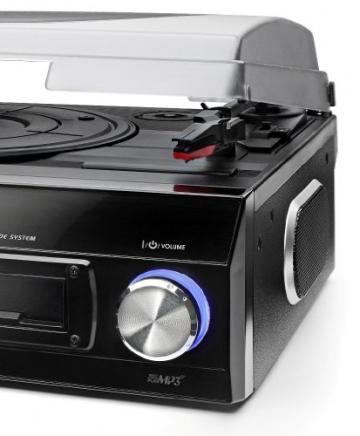 Dual DTTC 100 Schallplatten und Kassetten Player (Direct-Encoding, eingebaute Lautsprecher, Plattenspieler, Kassettendeck, USB, SD-Card, LCD-Display, AUX-IN) mit eingebauten Boxen schwarz - 3