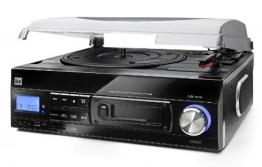 Dual DTTC 100 Schallplatten und Kassetten Player (Direct-Encoding, eingebaute Lautsprecher, Plattenspieler, Kassettendeck, USB, SD-Card, LCD-Display, AUX-IN) mit eingebauten Boxen schwarz - 1