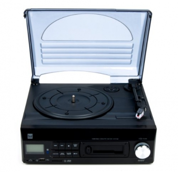 Dual DTTC 100 Schallplatten und Kassetten Player (Direct-Encoding, eingebaute Lautsprecher, Plattenspieler, Kassettendeck, USB, SD-Card, LCD-Display, AUX-IN) mit eingebauten Boxen schwarz - 4