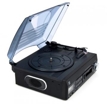 Dual DTTC 100 Schallplatten und Kassetten Player (Direct-Encoding, eingebaute Lautsprecher, Plattenspieler, Kassettendeck, USB, SD-Card, LCD-Display, AUX-IN) mit eingebauten Boxen schwarz - 5