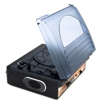 Dual DTTC 100 Schallplatten und Kassetten Player (Direct-Encoding, eingebaute Lautsprecher, Plattenspieler, Kassettendeck, USB, SD-Card, LCD-Display, AUX-IN) mit eingebauten Boxen schwarz - 8