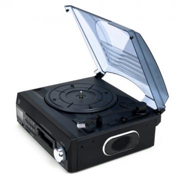 Dual DTTC 100 Schallplatten und Kassetten Player (Direct-Encoding, eingebaute Lautsprecher, Plattenspieler, Kassettendeck, USB, SD-Card, LCD-Display, AUX-IN) mit eingebauten Boxen schwarz - 9