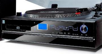 Dual NR 100 Stereo-Kompaktanlage mit Schallplattenspieler (PLL-UKW-Tuner, CD/MP3-Player, 30 Senderspeicherplätze, Direct-Encoding, 3,5mm Klinke, SD-Kartenslot) schwarz - 2