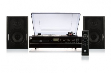 Dual NR 100 Stereo-Kompaktanlage mit Schallplattenspieler (PLL-UKW-Tuner, CD/MP3-Player, 30 Senderspeicherplätze, Direct-Encoding, 3,5mm Klinke, SD-Kartenslot) schwarz - 3