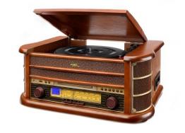 Dual NR 4 Nostalgie Musikanlage mit Plattenspieler (UKW-Tuner, MW-Radio, CD-RW, MP3, USB, Kassette, Aux-In) braun - 1