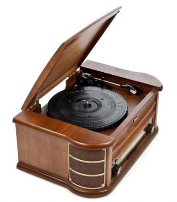 Dual NR 4 Nostalgie Musikanlage mit Plattenspieler (UKW-Tuner, MW-Radio, CD-RW, MP3, USB, Kassette, Aux-In) braun - 5