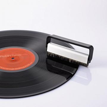 Hama Carbon Faserbürste (antistatisch Schallplatten reinigen, Vinylbürste, geeignet für Langspielplatten) schwarz/silber - 2