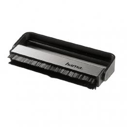 Hama Carbon-Faserbürste für Langspielplatten (antistatisch Schallplatten reinigen, Vinylbürste), schwarz/silber - 1