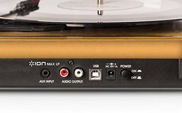Ion Audio MAX LP | USB Digital Encoder Vinyl Plattenspieler / Turntable mit eingebauten Stereo Lautsprechern - inkl. Converter Software (MAC/PC) - 7