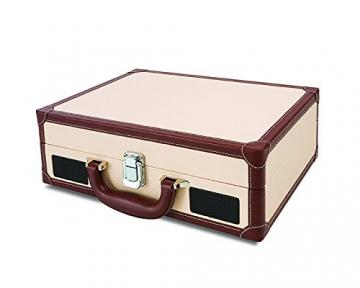 Ion Audio Vinyl Motion Deluxe | Transportabler Retro Koffer Plattenspieler mit USB Digital Encoder + wiederaufladbarem Akku - inkl. Converter Software (MAC/PC) - Cremefarben - 2