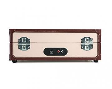 Ion Audio Vinyl Motion Deluxe | Transportabler Retro Koffer Plattenspieler mit USB Digital Encoder + wiederaufladbarem Akku - inkl. Converter Software (MAC/PC) - Cremefarben - 5