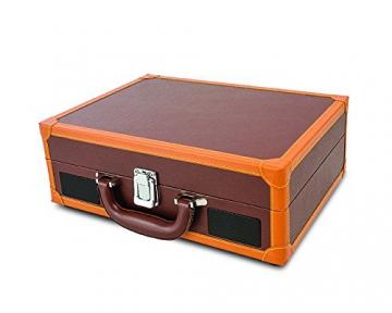 Ion Audio Vinyl Motion Deluxe | Transportabler Retro Koffer Plattenspieler mit USB Digital Encoder + wiederaufladbarem Akku - inkl. Converter Software (MAC/PC) - Braun - 2