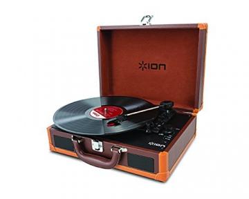 Ion Audio Vinyl Motion Deluxe | Transportabler Retro Koffer Plattenspieler mit USB Digital Encoder + wiederaufladbarem Akku - inkl. Converter Software (MAC/PC) - Braun - 3