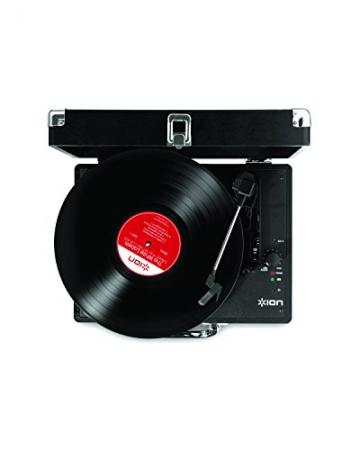 Ion Audio Vinyl Motion | Transportabler Retro Koffer Plattenspieler mit USB Digital Encoder + wiederaufladbarem Akku - inkl. Converter Software (MAC/PC) - Schwarz - 2