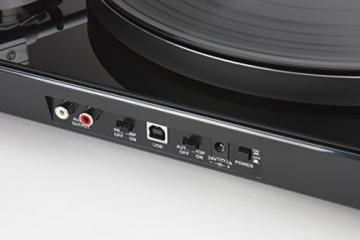 Lenco L-175 Edler Glas Plattenspieler mit Direktantrieb (USB, Aluminiumteller, Stereo Vorverstärker, Anti-Skating, Auto-Stop) - 6