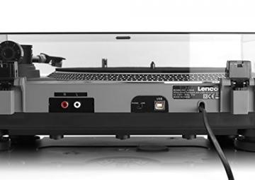 Lenco L-3808 Matt Grey Plattenspieler mit Direktantrieb, USB-Aufnahme, USB-Eingang, MMC, Digitalisierung über PC, abnehmbare Staubschutzhaube - 4